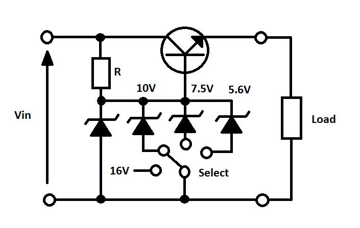 variable voltage supply  0v   5v  7v  10v  16v  rotary switch