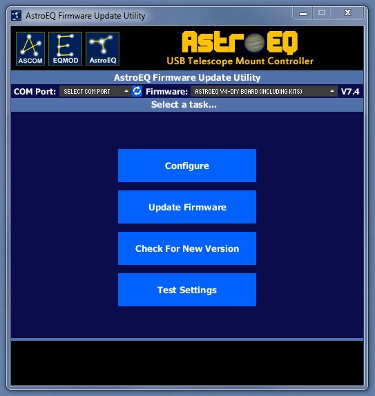 AstroEQ Update Utility Home Screen